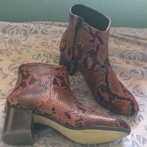 Snake printed booties